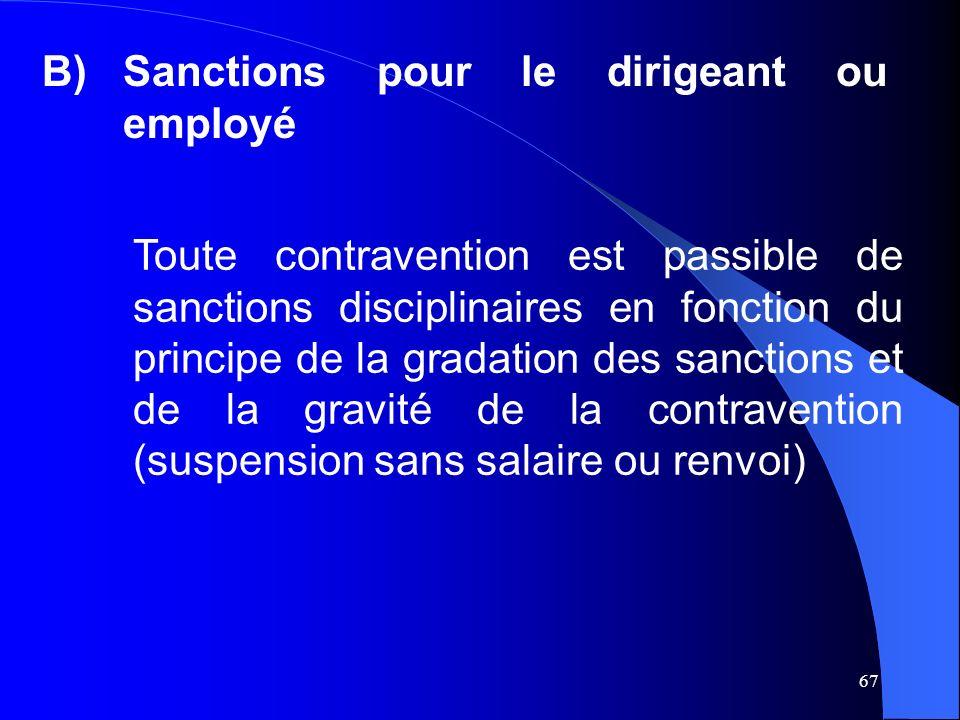 67 B)Sanctions pour le dirigeant ou employé Toute contravention est passible de sanctions disciplinaires en fonction du principe de la gradation des sanctions et de la gravité de la contravention (suspension sans salaire ou renvoi)