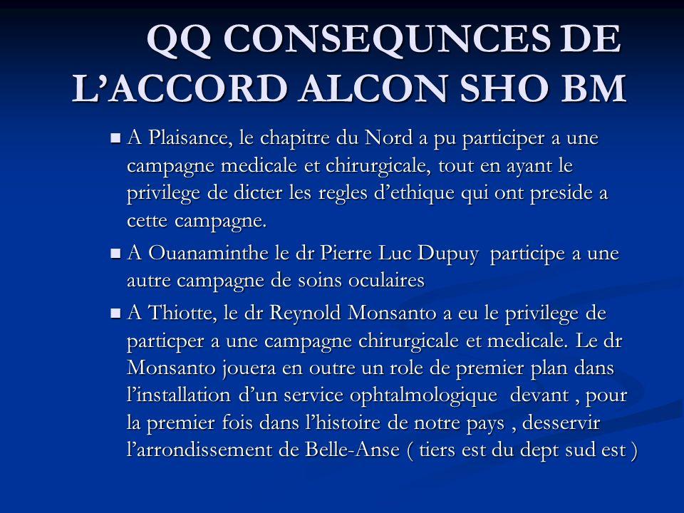 QQ CONSEQUNCES DE LACCORD ALCON SHO BM A Plaisance, le chapitre du Nord a pu participer a une campagne medicale et chirurgicale, tout en ayant le privilege de dicter les regles dethique qui ont preside a cette campagne.