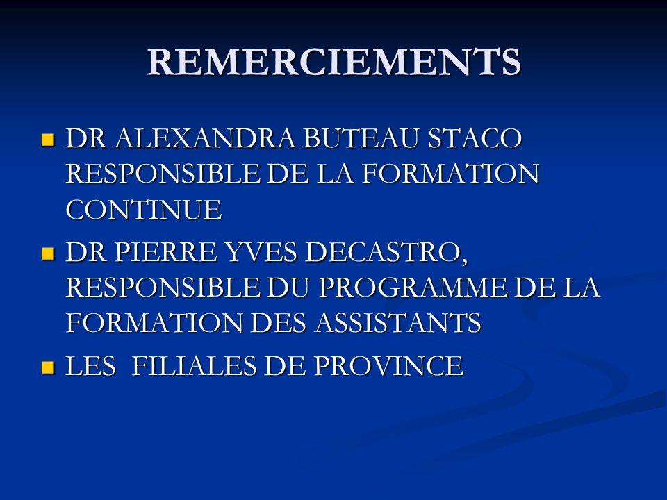 REMERCIEMENTS DR ALEXANDRA BUTEAU STACO RESPONSIBLE DE LA FORMATION CONTINUE DR ALEXANDRA BUTEAU STACO RESPONSIBLE DE LA FORMATION CONTINUE DR PIERRE YVES DECASTRO, RESPONSIBLE DU PROGRAMME DE LA FORMATION DES ASSISTANTS DR PIERRE YVES DECASTRO, RESPONSIBLE DU PROGRAMME DE LA FORMATION DES ASSISTANTS LES FILIALES DE PROVINCE LES FILIALES DE PROVINCE