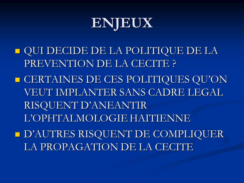 ENJEUX QUI DECIDE DE LA POLITIQUE DE LA PREVENTION DE LA CECITE .