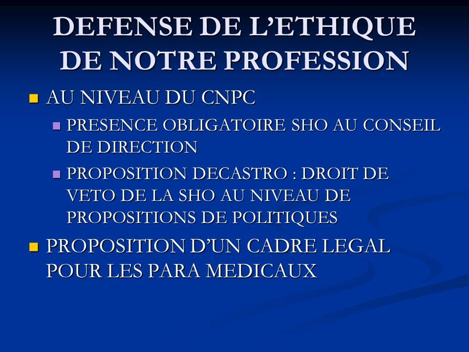 DEFENSE DE LETHIQUE DE NOTRE PROFESSION AU NIVEAU DU CNPC AU NIVEAU DU CNPC PRESENCE OBLIGATOIRE SHO AU CONSEIL DE DIRECTION PRESENCE OBLIGATOIRE SHO AU CONSEIL DE DIRECTION PROPOSITION DECASTRO : DROIT DE VETO DE LA SHO AU NIVEAU DE PROPOSITIONS DE POLITIQUES PROPOSITION DECASTRO : DROIT DE VETO DE LA SHO AU NIVEAU DE PROPOSITIONS DE POLITIQUES PROPOSITION DUN CADRE LEGAL POUR LES PARA MEDICAUX PROPOSITION DUN CADRE LEGAL POUR LES PARA MEDICAUX