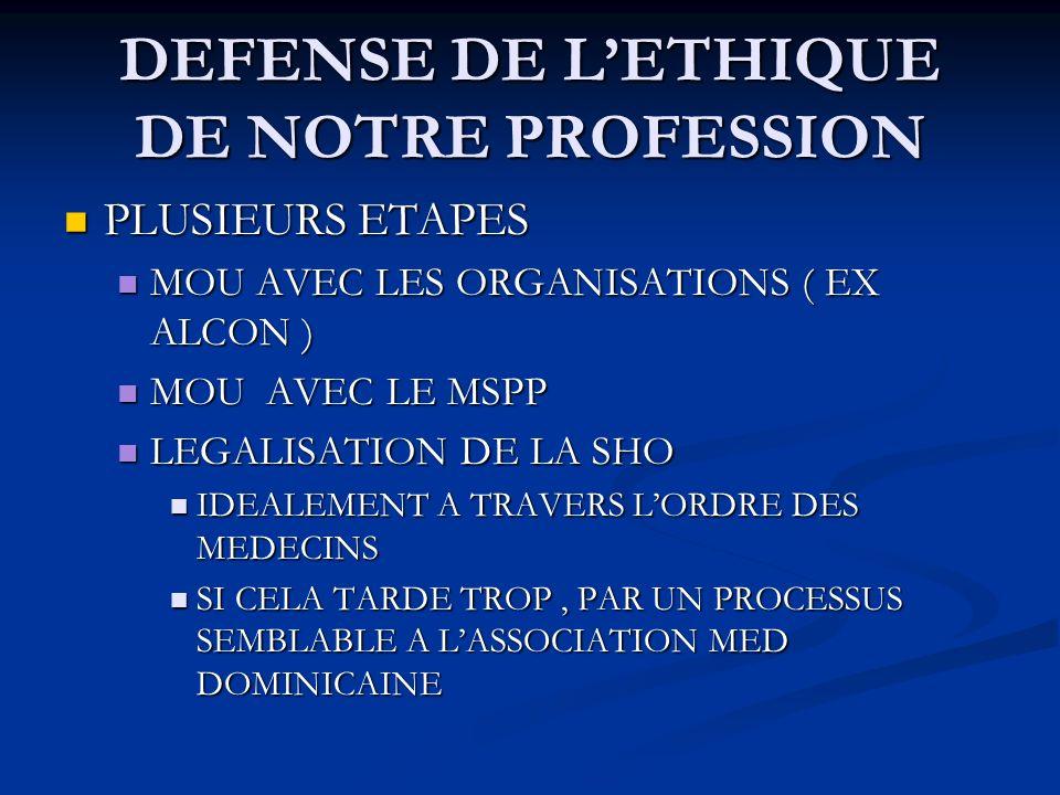 DEFENSE DE LETHIQUE DE NOTRE PROFESSION PLUSIEURS ETAPES PLUSIEURS ETAPES MOU AVEC LES ORGANISATIONS ( EX ALCON ) MOU AVEC LES ORGANISATIONS ( EX ALCON ) MOU AVEC LE MSPP MOU AVEC LE MSPP LEGALISATION DE LA SHO LEGALISATION DE LA SHO IDEALEMENT A TRAVERS LORDRE DES MEDECINS IDEALEMENT A TRAVERS LORDRE DES MEDECINS SI CELA TARDE TROP, PAR UN PROCESSUS SEMBLABLE A LASSOCIATION MED DOMINICAINE SI CELA TARDE TROP, PAR UN PROCESSUS SEMBLABLE A LASSOCIATION MED DOMINICAINE