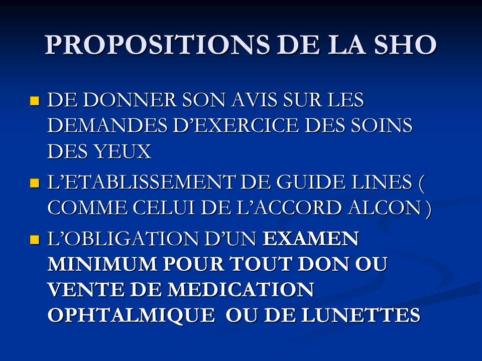 PROPOSITIONS DE LA SHO DE DONNER SON AVIS SUR LES DEMANDES DEXERCICE DES SOINS DES YEUX DE DONNER SON AVIS SUR LES DEMANDES DEXERCICE DES SOINS DES YEUX LETABLISSEMENT DE GUIDE LINES ( COMME CELUI DE LACCORD ALCON ) LETABLISSEMENT DE GUIDE LINES ( COMME CELUI DE LACCORD ALCON ) LOBLIGATION DUN EXAMEN MINIMUM POUR TOUT DON OU VENTE DE MEDICATION OPHTALMIQUE OU DE LUNETTES LOBLIGATION DUN EXAMEN MINIMUM POUR TOUT DON OU VENTE DE MEDICATION OPHTALMIQUE OU DE LUNETTES
