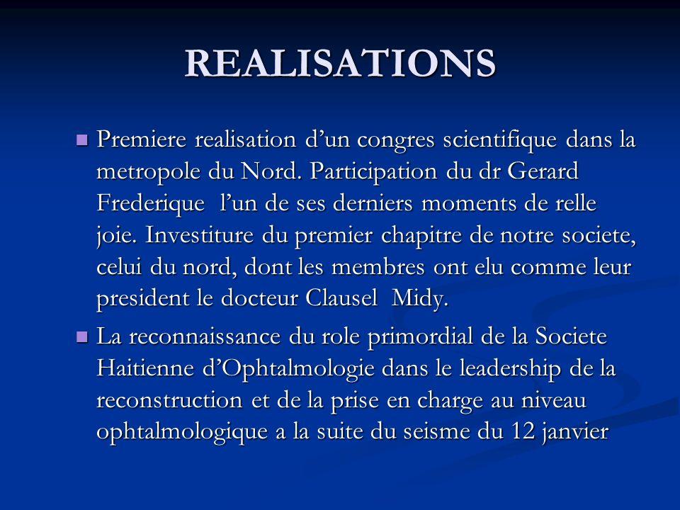 REALISATIONS Premiere realisation dun congres scientifique dans la metropole du Nord.