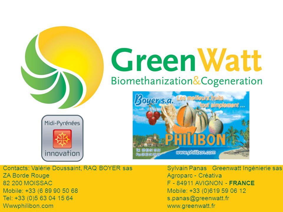 Contacts: Valérie Doussaint, RAQ BOYER sasSylvain Panas Greenwatt Ingénierie sas ZA Borde Rouge Agroparc - Créativa 82 200 MOISSAC F - 84911 AVIGNON - FRANCE Mobile: +33 (6 89 90 50 68Mobile: +33 (0)619 59 06 12 Tel: +33 (0)5 63 04 15 64s.panas@greenwatt.fr Wwwphilibon.comwww.greenwatt.fr
