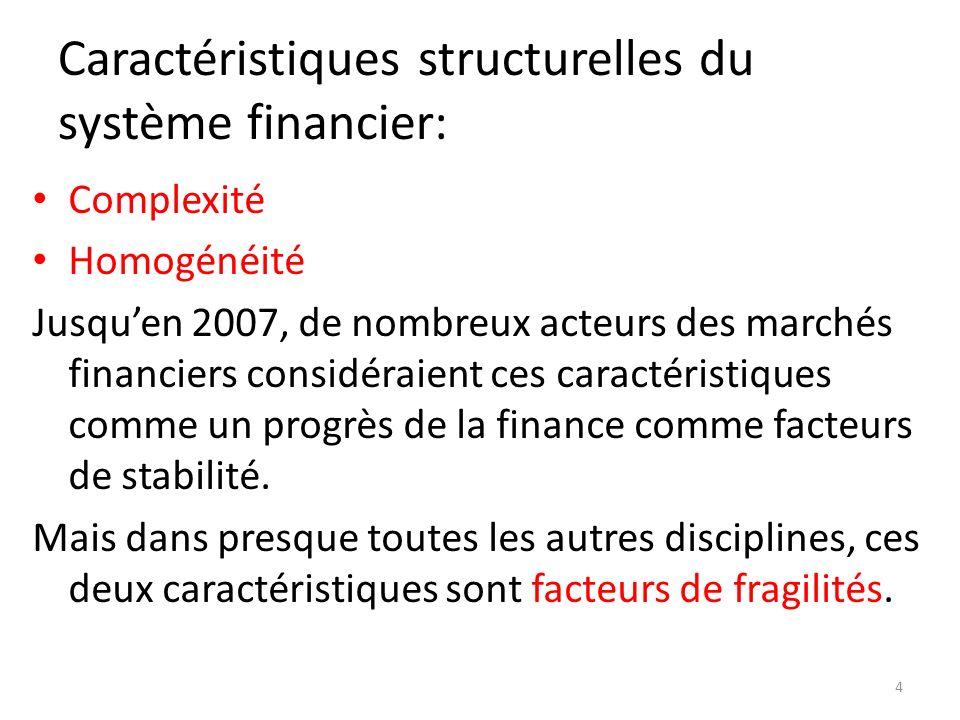Caractéristiques structurelles du système financier: Complexité Homogénéité Jusquen 2007, de nombreux acteurs des marchés financiers considéraient ces caractéristiques comme un progrès de la finance comme facteurs de stabilité.