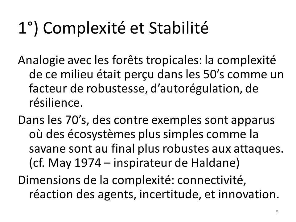 1°) Complexité et Stabilité Analogie avec les forêts tropicales: la complexité de ce milieu était perçu dans les 50s comme un facteur de robustesse, dautorégulation, de résilience.