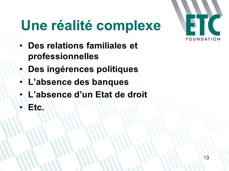 13 Une réalité complexe Des relations familiales et professionnelles Des ingérences politiques Labsence des banques Labsence dun Etat de droit Etc.