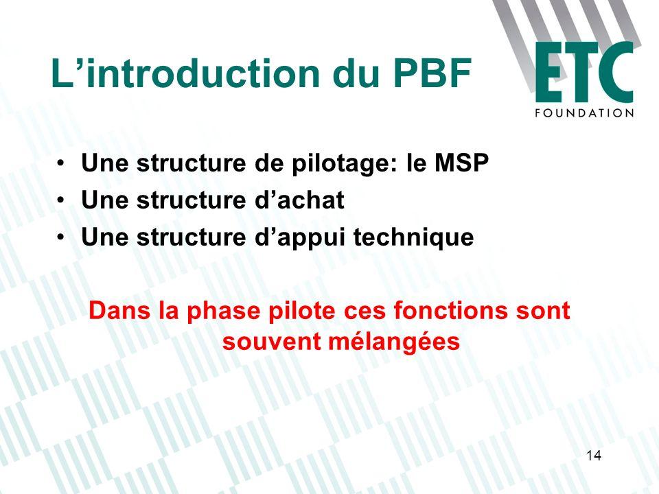 14 Lintroduction du PBF Une structure de pilotage: le MSP Une structure dachat Une structure dappui technique Dans la phase pilote ces fonctions sont
