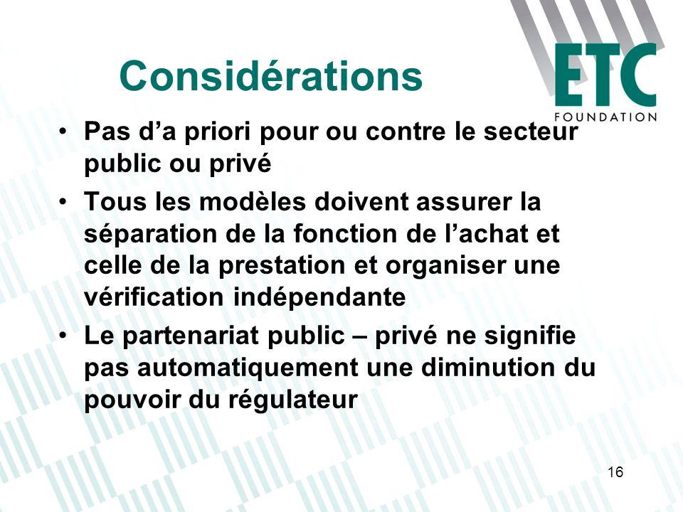 16 Considérations Pas da priori pour ou contre le secteur public ou privé Tous les modèles doivent assurer la séparation de la fonction de lachat et c