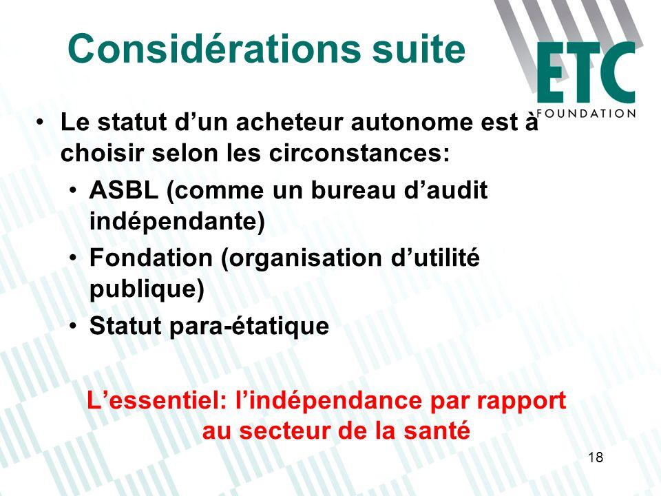 18 Considérations suite Le statut dun acheteur autonome est à choisir selon les circonstances: ASBL (comme un bureau daudit indépendante) Fondation (o