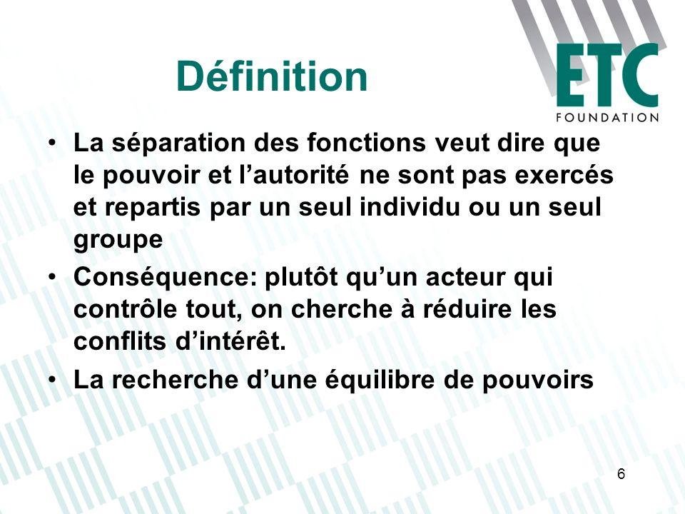 6 Définition La séparation des fonctions veut dire que le pouvoir et lautorité ne sont pas exercés et repartis par un seul individu ou un seul groupe