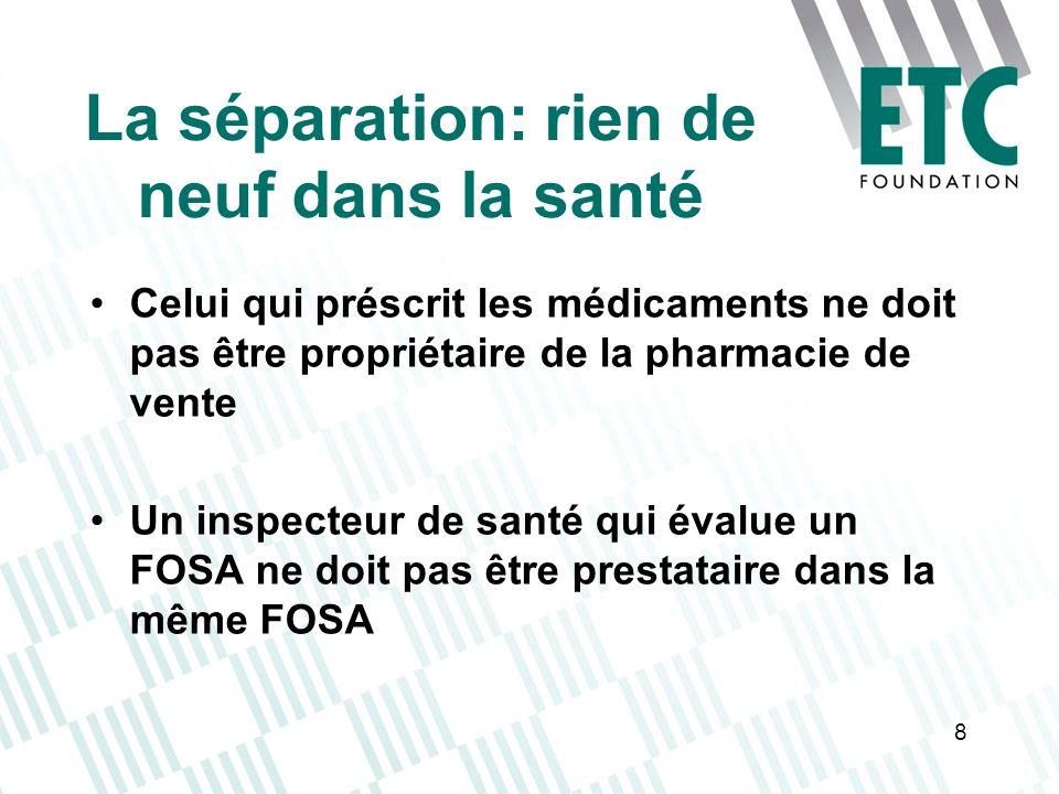 8 La séparation: rien de neuf dans la santé Celui qui préscrit les médicaments ne doit pas être propriétaire de la pharmacie de vente Un inspecteur de