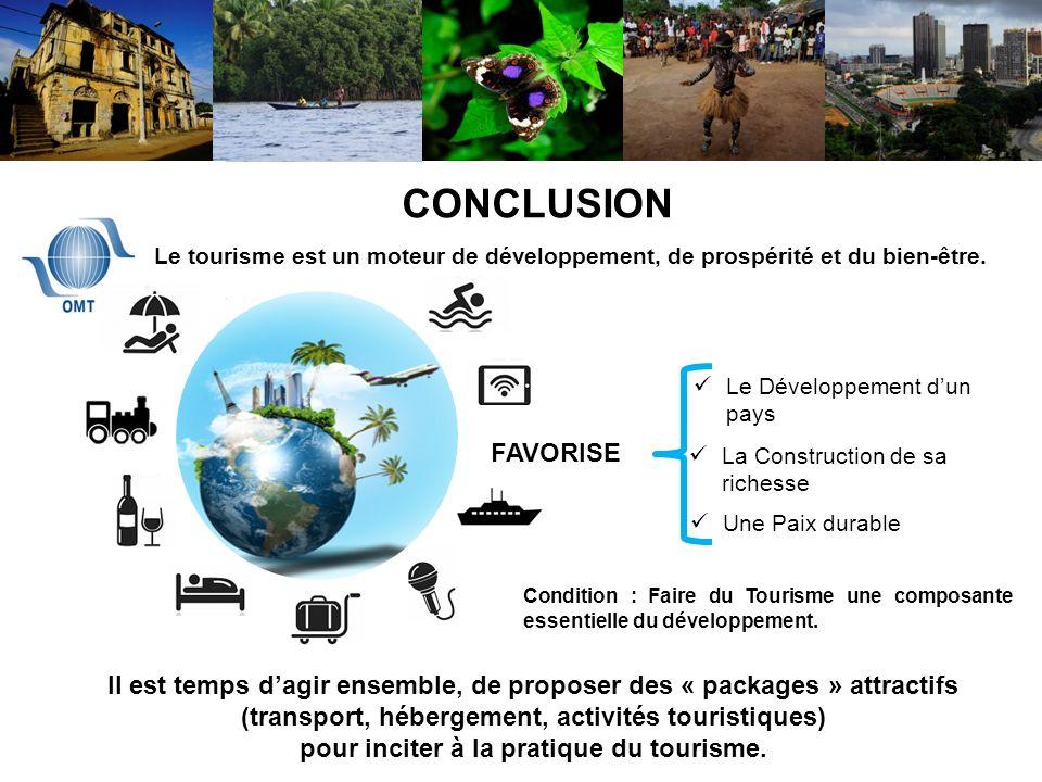 Comment le Tourisme peut-il impacter léconomie des Etats de lAOC ? CONCLUSION Le Développement dun pays La Construction de sa richesse Une Paix durabl