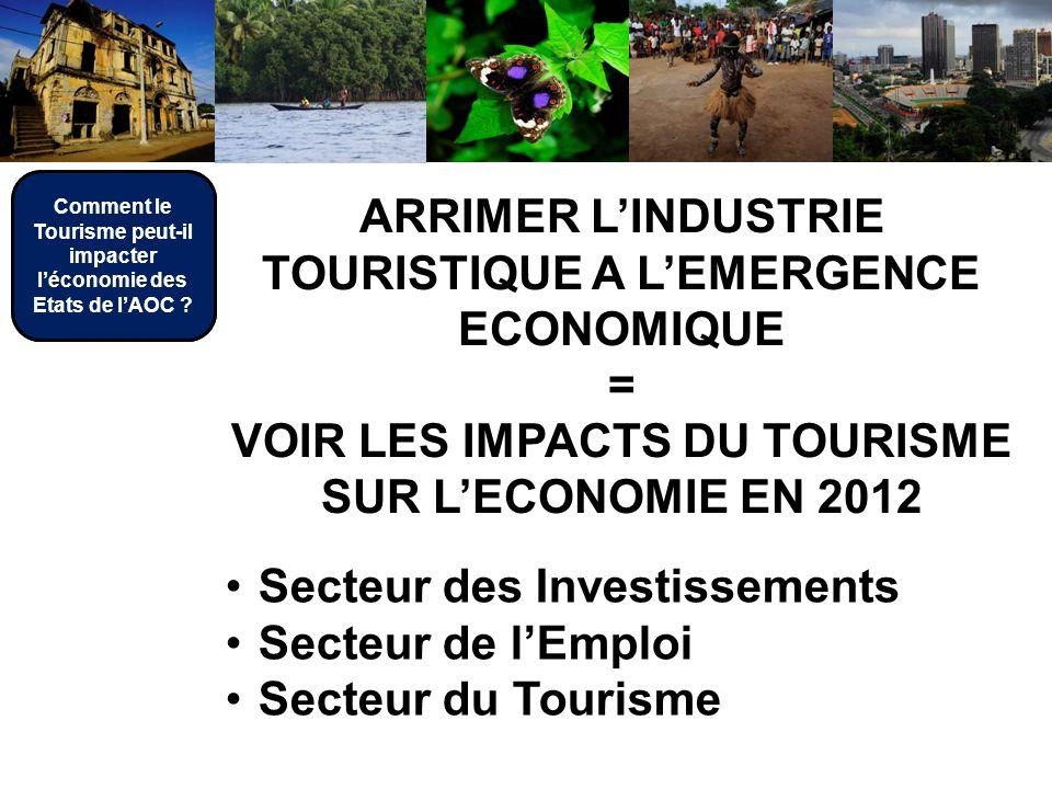 ARRIMER LINDUSTRIE TOURISTIQUE A LEMERGENCE ECONOMIQUE = VOIR LES IMPACTS DU TOURISME SUR LECONOMIE EN 2012 Secteur des Investissements Secteur de lEmploi Secteur du Tourisme Comment le Tourisme peut-il impacter léconomie des Etats de lAOC