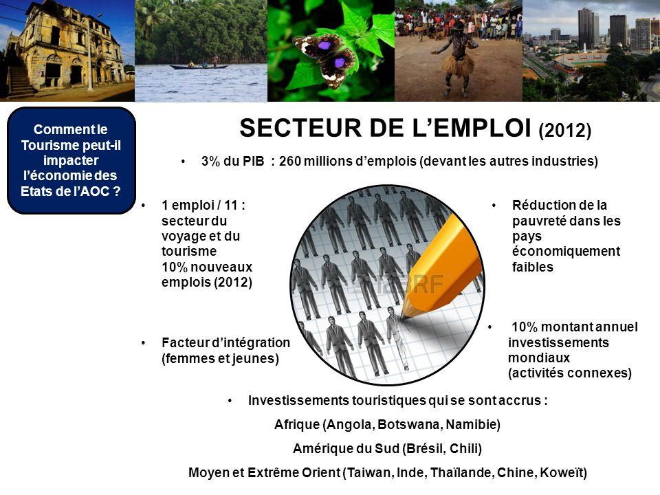 Investissements touristiques qui se sont accrus : Afrique (Angola, Botswana, Namibie) Amérique du Sud (Brésil, Chili) Moyen et Extrême Orient (Taiwan, Inde, Thaïlande, Chine, Koweït) SECTEUR DE LEMPLOI (2012) 3% du PIB : 260 millions demplois (devant les autres industries) 1 emploi / 11 : secteur du voyage et du tourisme 10% nouveaux emplois (2012) Réduction de la pauvreté dans les pays économiquement faibles Facteur dintégration (femmes et jeunes) 10% montant annuel investissements mondiaux (activités connexes) Comment le Tourisme peut-il impacter léconomie des Etats de lAOC