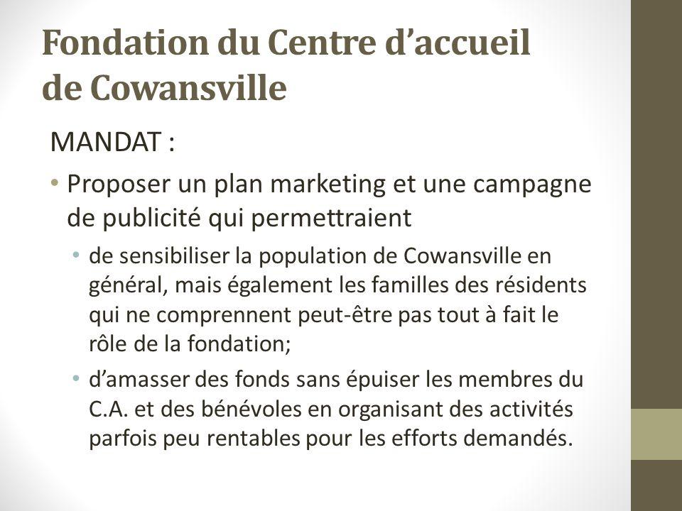 Fondation du Centre daccueil de Cowansville MANDAT : Proposer un plan marketing et une campagne de publicité qui permettraient de sensibiliser la popu