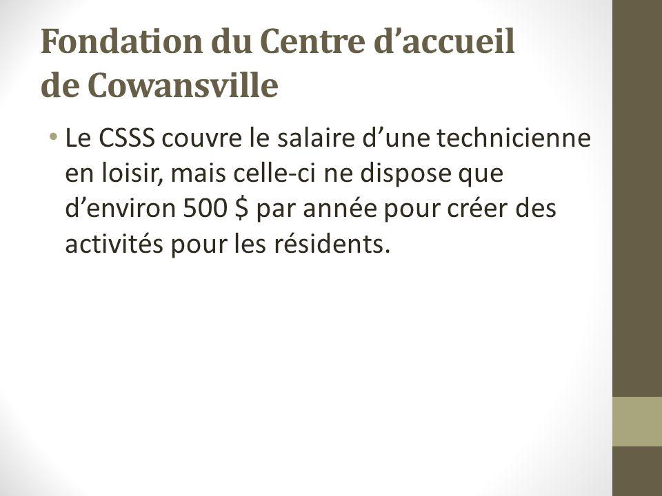 Fondation du Centre daccueil de Cowansville Le CSSS couvre le salaire dune technicienne en loisir, mais celle-ci ne dispose que denviron 500 $ par ann