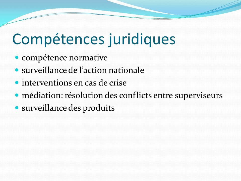 Compétences juridiques compétence normative surveillance de laction nationale interventions en cas de crise médiation: résolution des conflicts entre superviseurs surveillance des produits