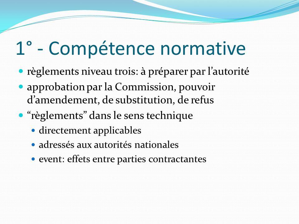 1° - Compétence normative règlements niveau trois: à préparer par lautorité approbation par la Commission, pouvoir damendement, de substitution, de re