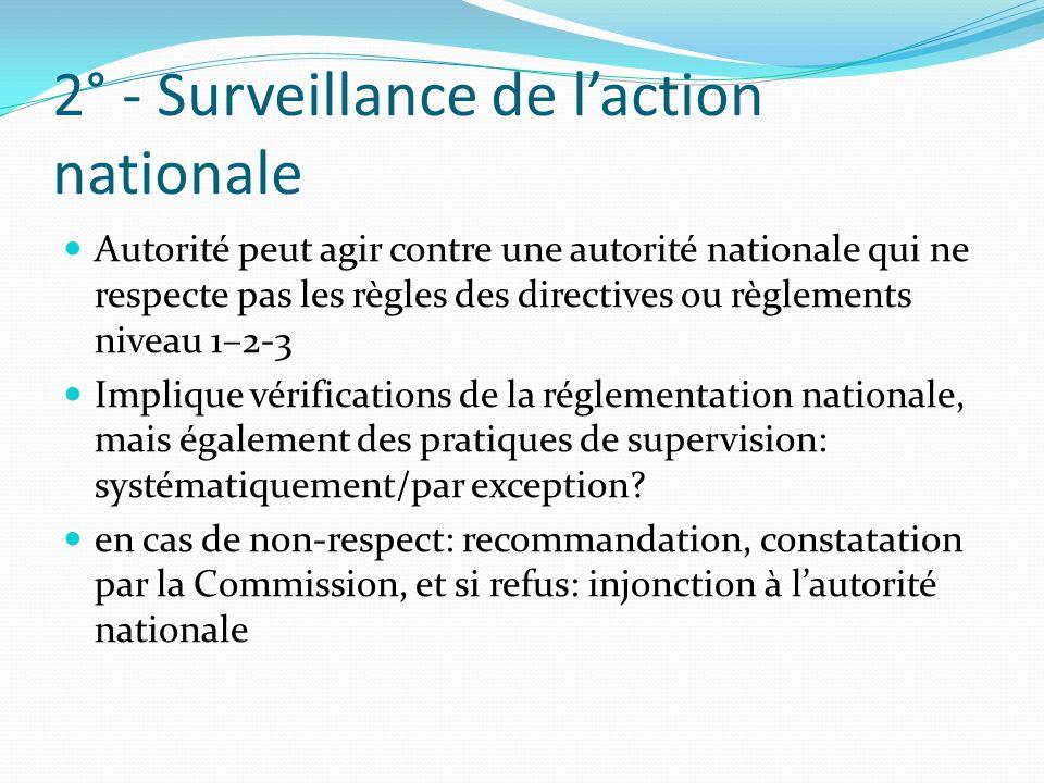 2° - Surveillance de laction nationale Autorité peut agir contre une autorité nationale qui ne respecte pas les règles des directives ou règlements niveau 1–2-3 Implique vérifications de la réglementation nationale, mais également des pratiques de supervision: systématiquement/par exception.