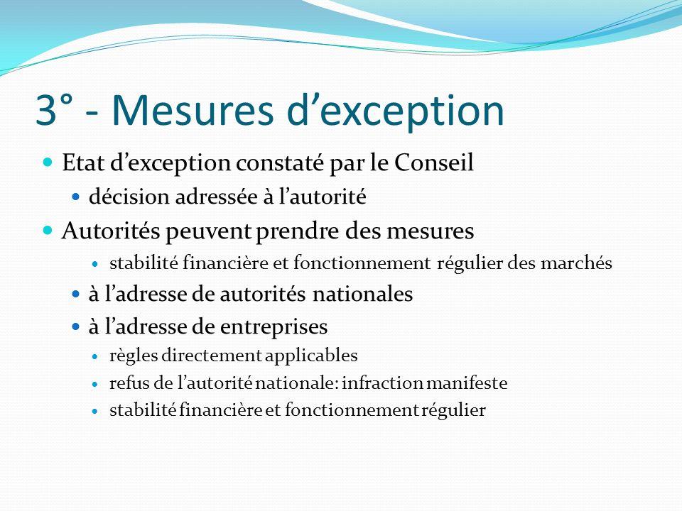 3° - Mesures dexception Etat dexception constaté par le Conseil décision adressée à lautorité Autorités peuvent prendre des mesures stabilité financiè