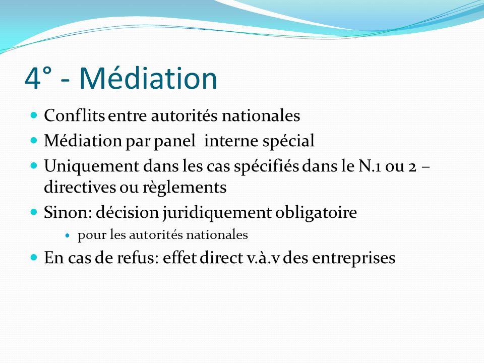 4° - Médiation Conflits entre autorités nationales Médiation par panel interne spécial Uniquement dans les cas spécifiés dans le N.1 ou 2 – directives