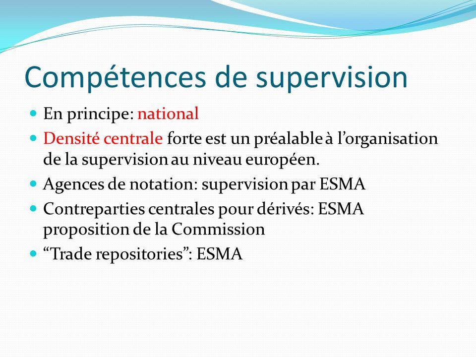 Compétences de supervision En principe: national Densité centrale forte est un préalable à lorganisation de la supervision au niveau européen. Agences