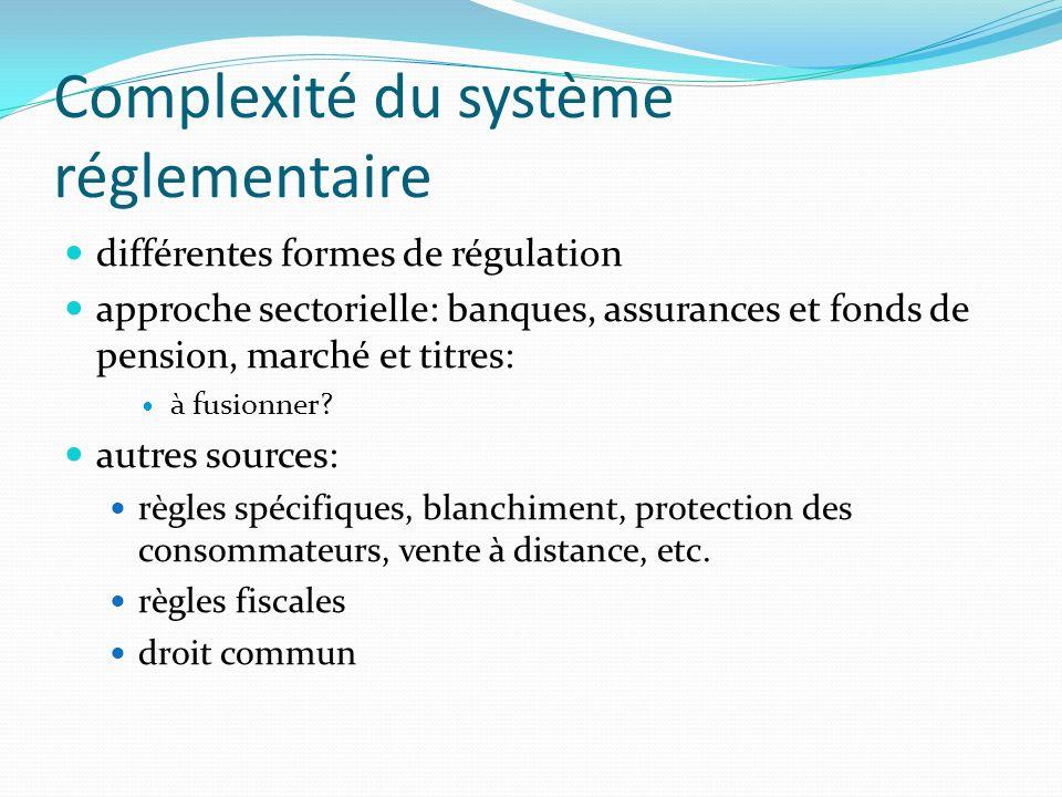 Complexité du système réglementaire différentes formes de régulation approche sectorielle: banques, assurances et fonds de pension, marché et titres: à fusionner.