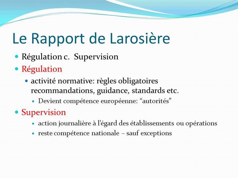 Le Rapport de Larosière Régulation c.