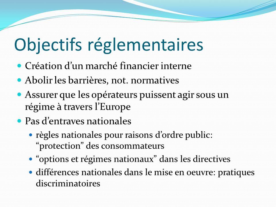 Objectifs réglementaires Création dun marché financier interne Abolir les barrières, not. normatives Assurer que les opérateurs puissent agir sous un