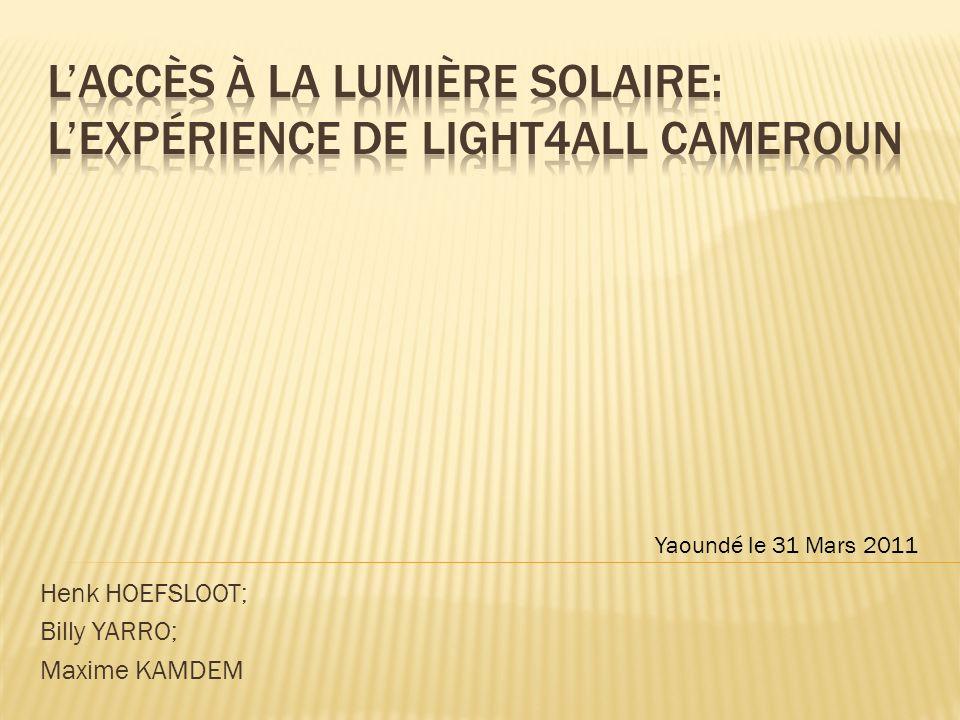 Henk HOEFSLOOT; Billy YARRO; Maxime KAMDEM Yaoundé le 31 Mars 2011