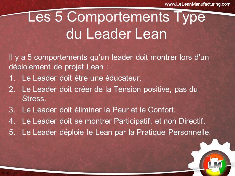 Les 5 Comportements Type du Leader Lean Il y a 5 comportements quun leader doit montrer lors dun déploiement de projet Lean : 1.Le Leader doit être une éducateur.