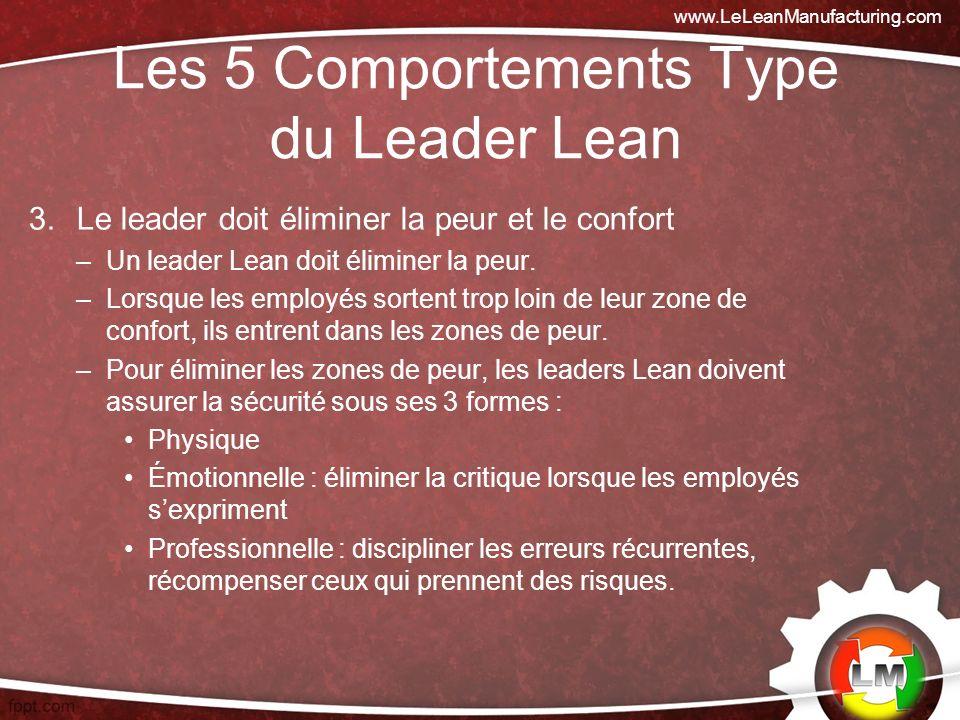 Les 5 Comportements Type du Leader Lean 3.Le leader doit éliminer la peur et le confort –Un leader Lean doit éliminer la peur.