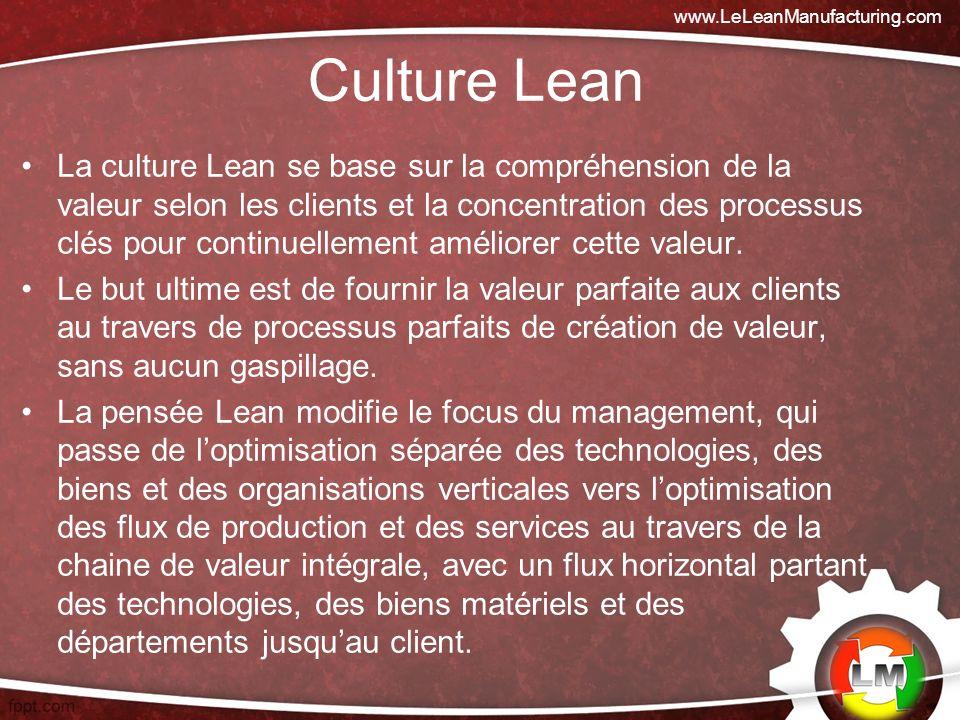 Culture Lean La culture Lean se base sur la compréhension de la valeur selon les clients et la concentration des processus clés pour continuellement améliorer cette valeur.