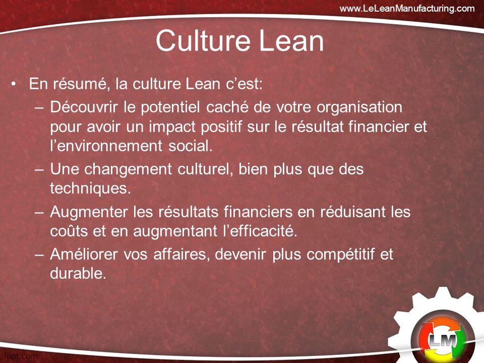 Culture Lean En résumé, la culture Lean cest: –Découvrir le potentiel caché de votre organisation pour avoir un impact positif sur le résultat financier et lenvironnement social.