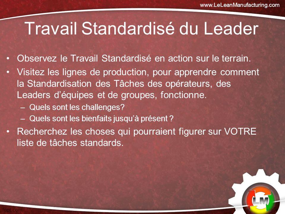 Travail Standardisé du Leader Observez le Travail Standardisé en action sur le terrain.