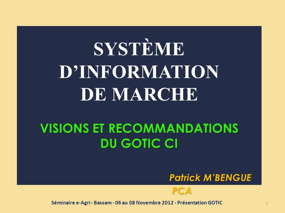 VISIONS ET RECOMMANDATIONS DU GOTIC CI Patrick MBENGUE PCA SYSTÈME DINFORMATION DE MARCHE VISIONS ET RECOMMANDATIONS DU GOTIC CI Patrick MBENGUE PCA 1