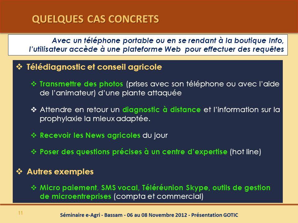 QUELQUES CAS CONCRETS QUELQUES CAS CONCRETS Télédiagnostic et conseil agricole Transmettre des photos (prises avec son téléphone ou avec laide de lani