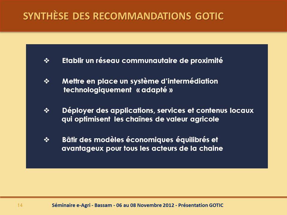 SYNTHÈSE DES RECOMMANDATIONS GOTIC Etablir un réseau communautaire de proximité Mettre en place un système dintermédiation technologiquement « adapté