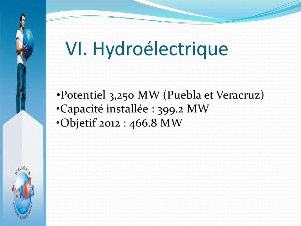 VI. Hydroélectrique Potentiel 3,250 MW (Puebla et Veracruz) Capacité installée : 399.2 MW Objetif 2012 : 466.8 MW