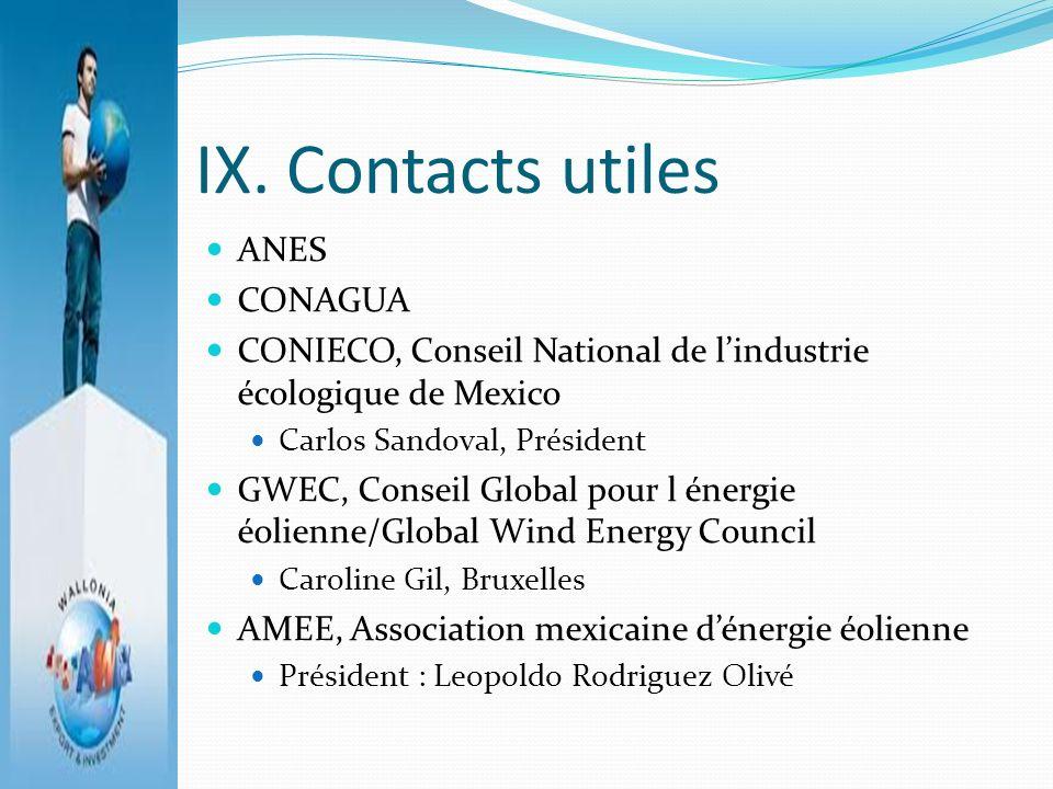 IX. Contacts utiles ANES CONAGUA CONIECO, Conseil National de lindustrie écologique de Mexico Carlos Sandoval, Président GWEC, Conseil Global pour l é