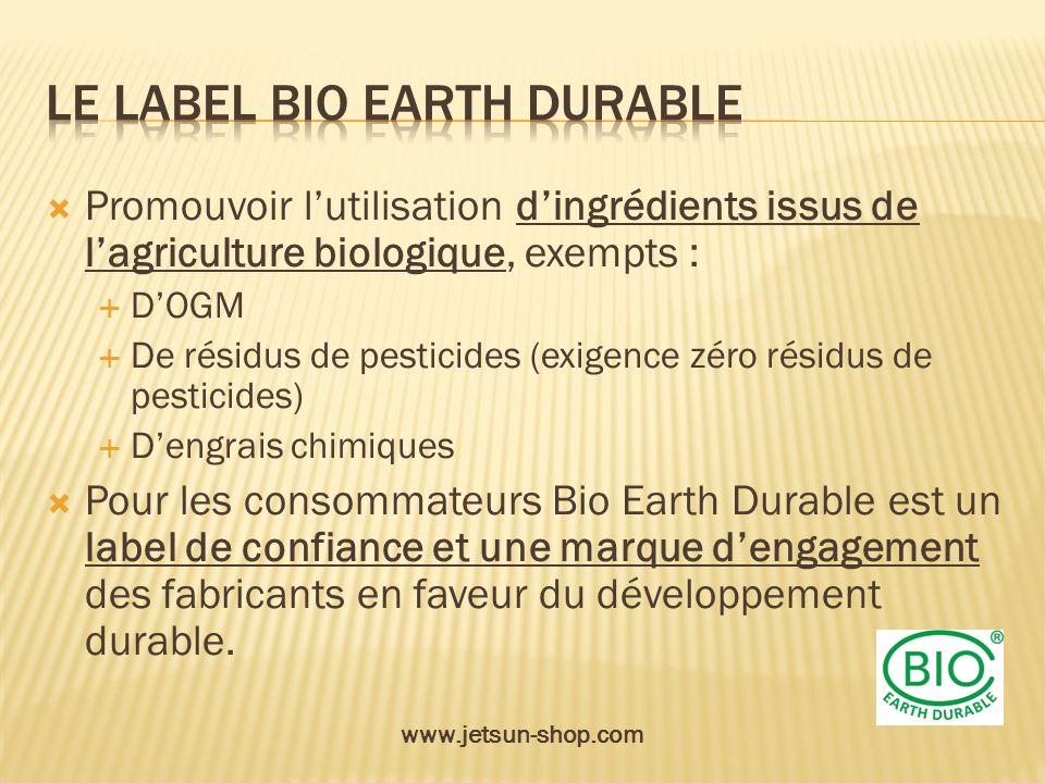 Promouvoir lutilisation dingrédients issus de lagriculture biologique, exempts : DOGM De résidus de pesticides (exigence zéro résidus de pesticides) D