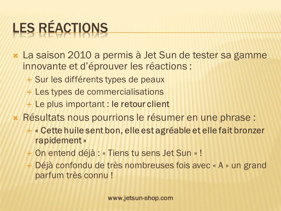 La saison 2010 a permis à Jet Sun de tester sa gamme innovante et déprouver les réactions : Sur les différents types de peaux Les types de commerciali
