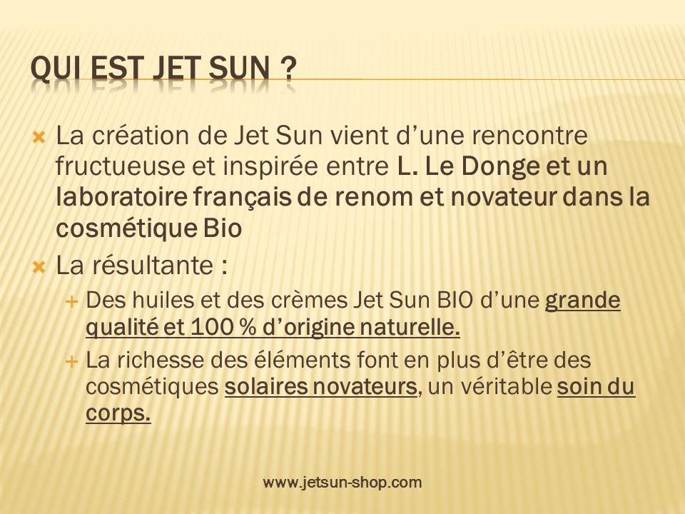 La création de Jet Sun vient dune rencontre fructueuse et inspirée entre L. Le Donge et un laboratoire français de renom et novateur dans la cosmétiqu