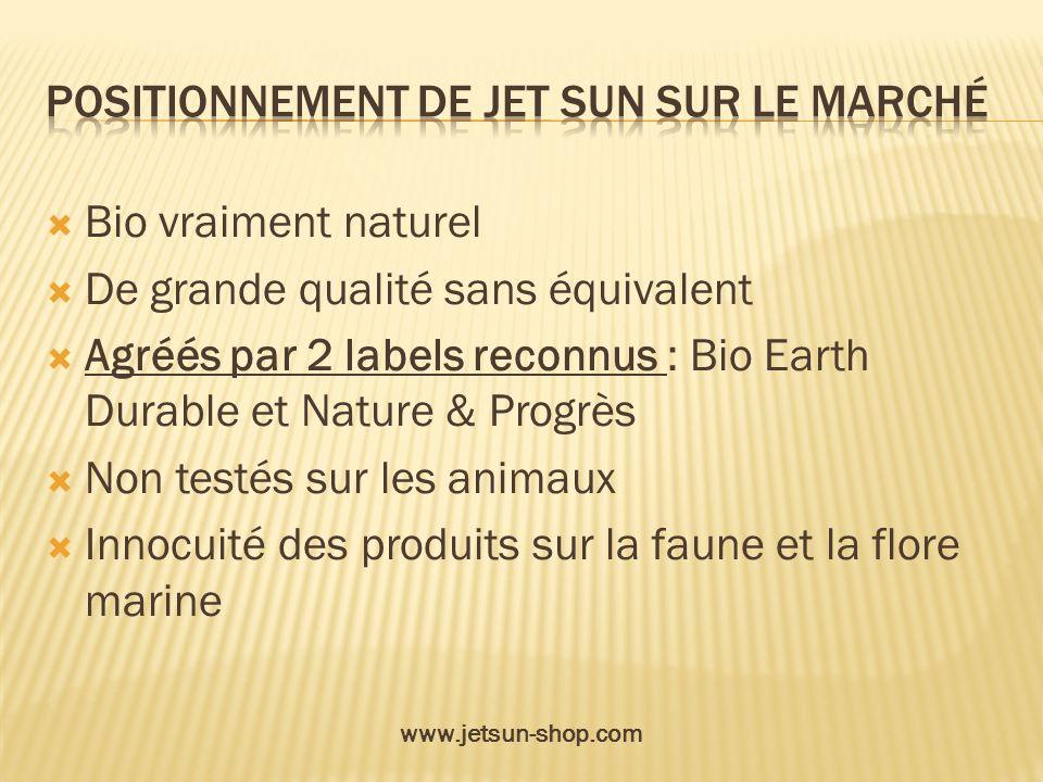Bio vraiment naturel De grande qualité sans équivalent Agréés par 2 labels reconnus : Bio Earth Durable et Nature & Progrès Non testés sur les animaux