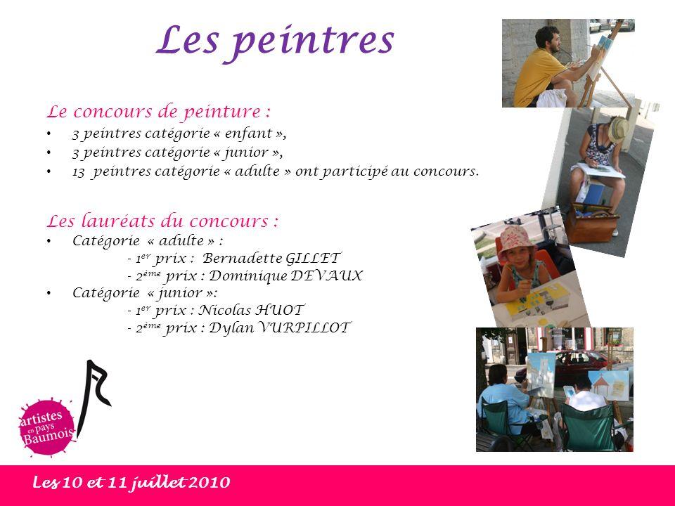 Les peintres Les 10 et 11 juillet 2010 Le concours de peinture : 3 peintres catégorie « enfant », 3 peintres catégorie « junior », 13 peintres catégor