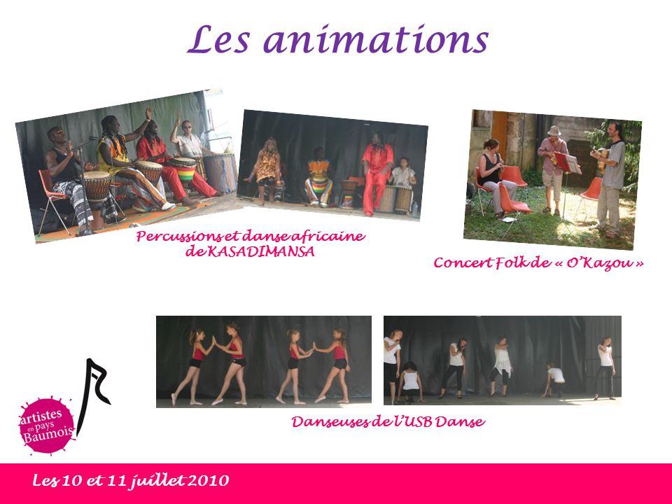 Les animations Les 10 et 11 juillet 2010 Percussions et danse africaine de KASADIMANSA Concert Folk de « OKazou » Danseuses de lUSB Danse