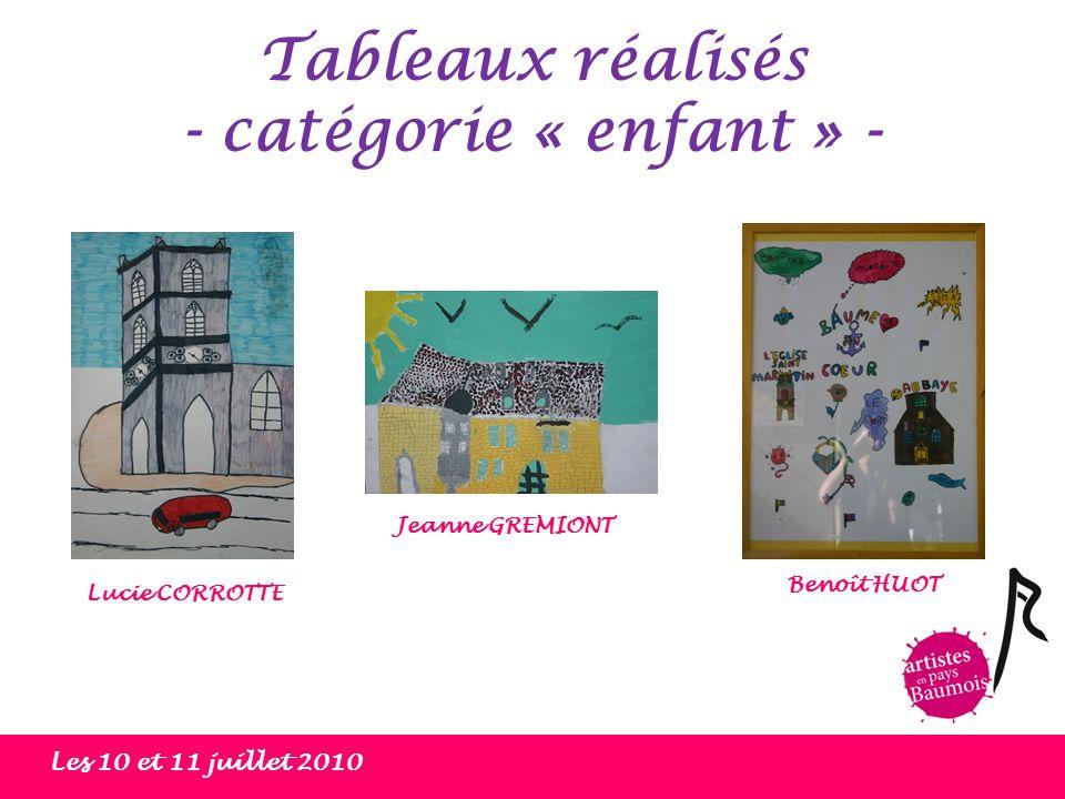 Tableaux réalisés - catégorie « enfant » - Les 10 et 11 juillet 2010 Benoît HUOT Lucie CORROTTE Jeanne GREMIONT