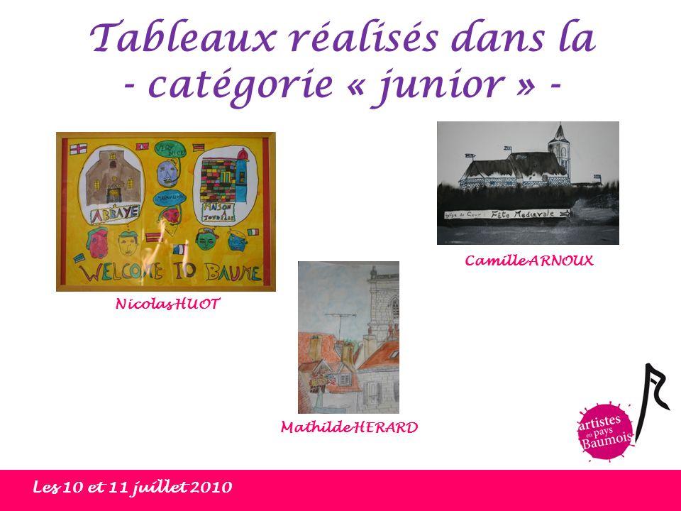 Tableaux réalisés dans la - catégorie « junior » - Les 10 et 11 juillet 2010 Nicolas HUOT Camille ARNOUX Mathilde HERARD